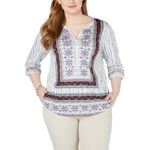 NWT STYLE & CO. Plus Size 3/4 Sleeves Henley Top